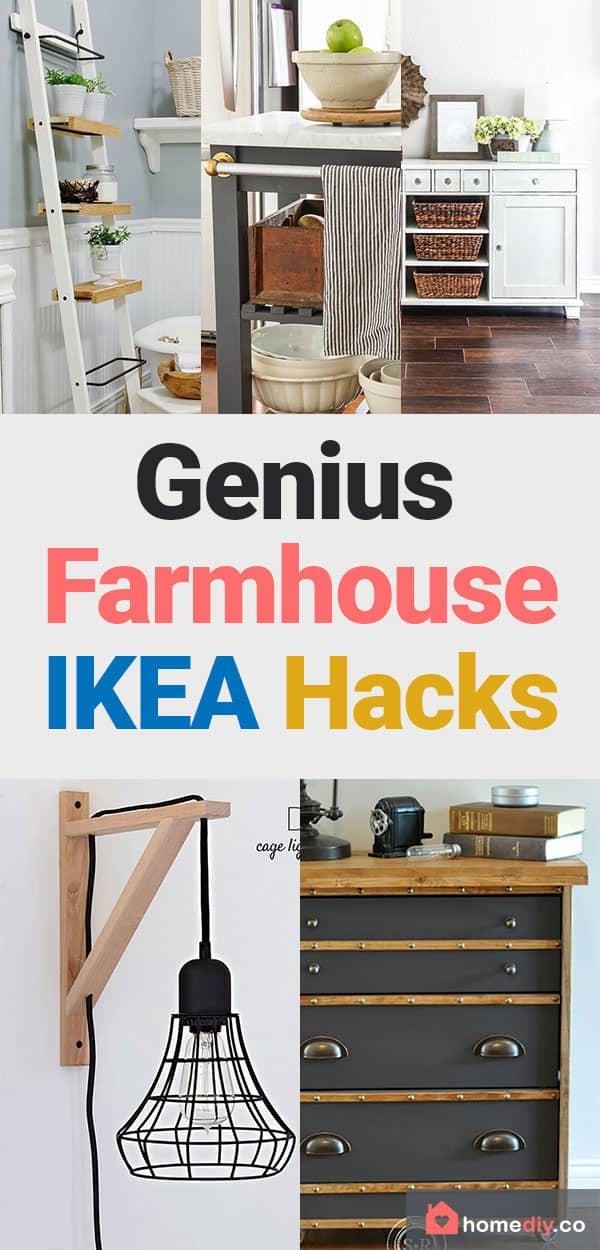 Save these fabulous farmhouse IKEA Hacks for your bedroom, kitchen, barhroom and storage ideas! Take rustic feel to your home with DIY budget friendly ideas