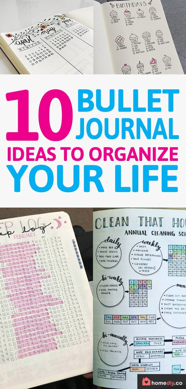 Great Bullet Journal ideas if you'd like to get organized with your life in all aspects - saving money, sleep tracker, birthdays spread, cleaning schedule.