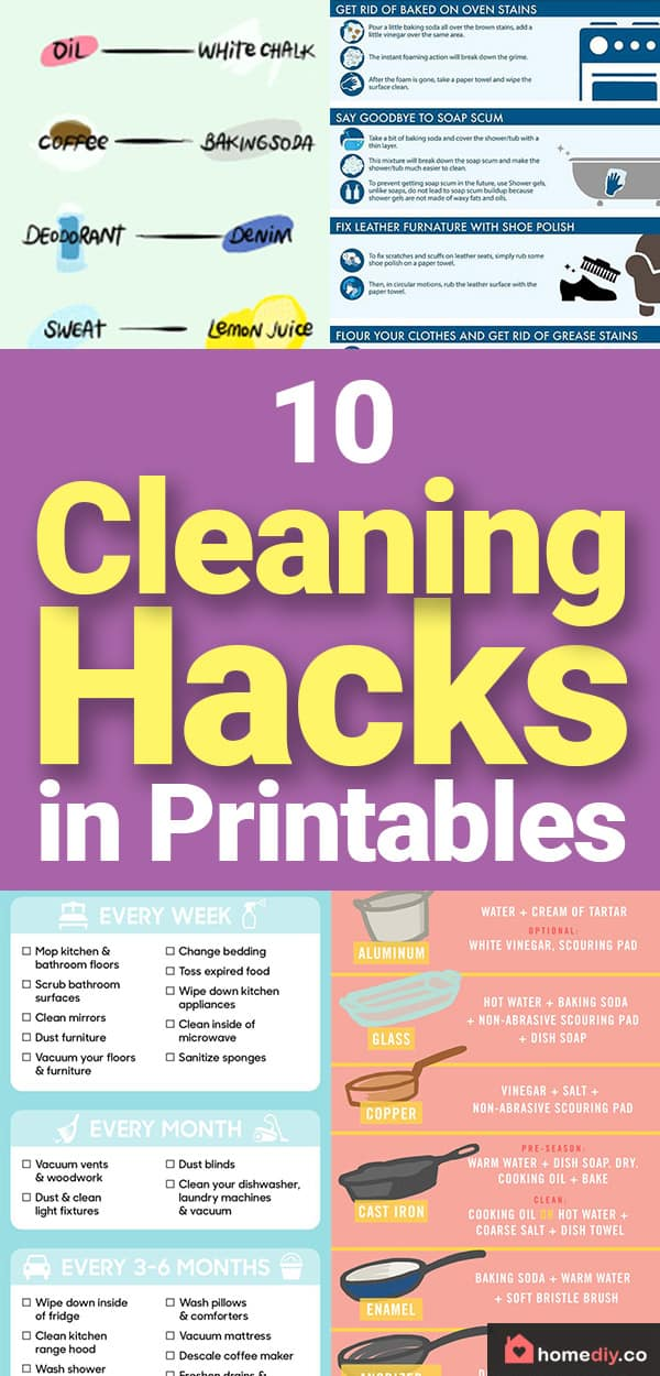 I am trying to organize my cleaning schedule using these cleaning hacks printables. Learn how to remove stains from everything, make DIY cleaning products .
