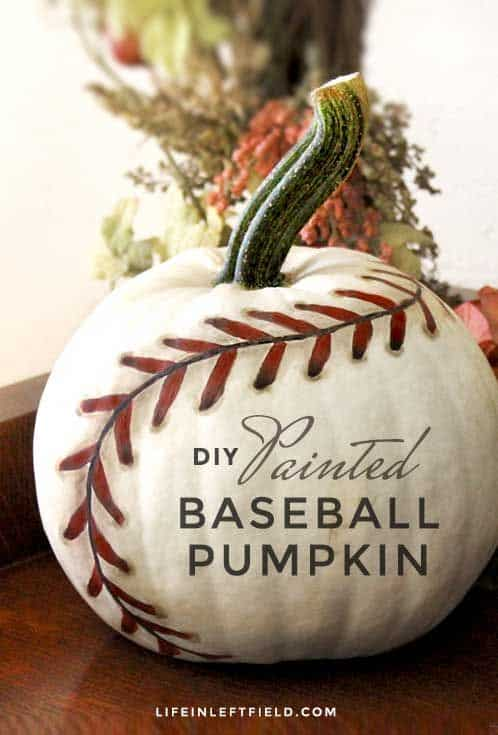Inspiring Baseball Pumpkin - Looking for original no carve DIY pumpkin decorating ideas? Use them for Halloween & Thanksgiving for an amazing fall decor. Home DIY for Fall holidays