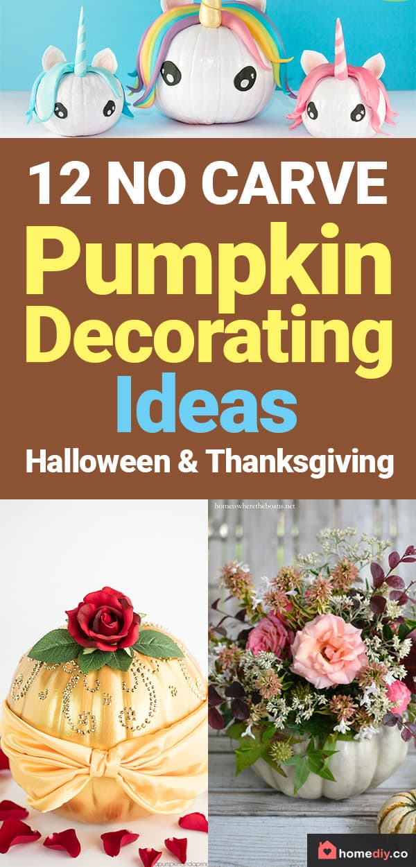 Looking for original no carve DIY pumpkin decorating ideas? Use them for Halloween & Thanksgiving for an amazing fall decor. Home DIY for Fall holidays