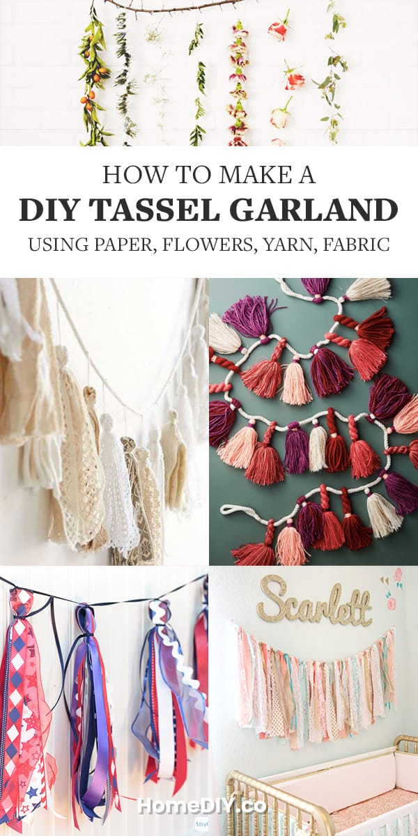 How to Make a DIY Tassel Garland – Using Paper, Flowers, Yarn, Fabric. Learn how to DIY tassel garland and pompoms using different materials and techniques - fabric, yarn, paper, flowers. Save to Garlands board on Pinterest! #garland #tassels #diy #homedecor #decor #decoration #crafts